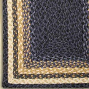 Light & Dark Blue/Mustard C-079 Jute Braided Rug