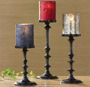 Black Oxidized Candle Holders Set of 3