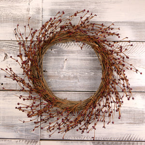 Burgundy Primitive Pip Berry Wreath - 22""