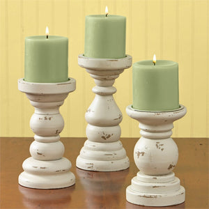 Southport Short Candlestick Pillar Holders Cream - Set of 3