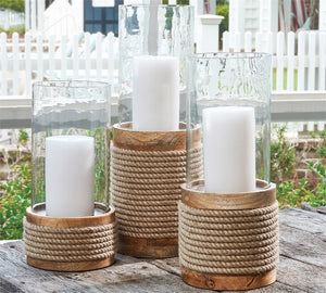Rope Hurricane Candle Holder