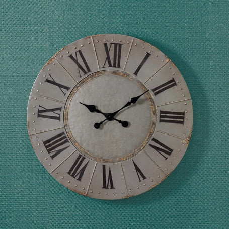 Metal Aged Gray Round Wall Clock