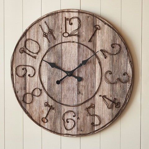Wood Clock with Key Numbers Wall Clock