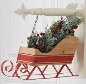Wood Sleigh w/Red Stripe & Metal Runners Arrow Replacement Sign by K&K Interiors
