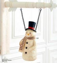 Resin Snowman With HoHoHo Scarf Arrow Replacement Sign by K&K Interiors