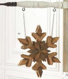 Natural Double Sided Wood Snowflake Arrow Replacement Sign by K&K Interiors