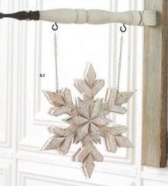 Whitewash Double Sided Wood Snowflake Arrow Replacement Sign
