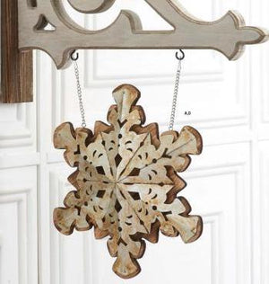 Wood and Metal Double Sided Snowflake Arrow Replacement Sign by K&K Interiors