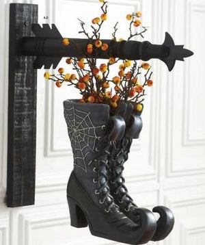 Black Resin Witch Boots Double Sided Arrow Replacement Sign by K&K Interiors