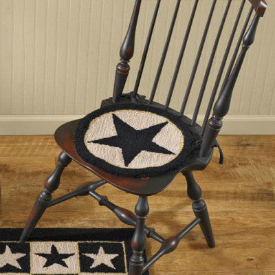 Black Star Hooked Chair Pad - Set of 2