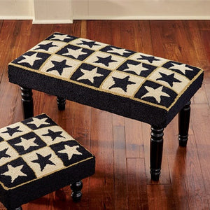 Black Star Hooked Bench | Country Primitive Furniture