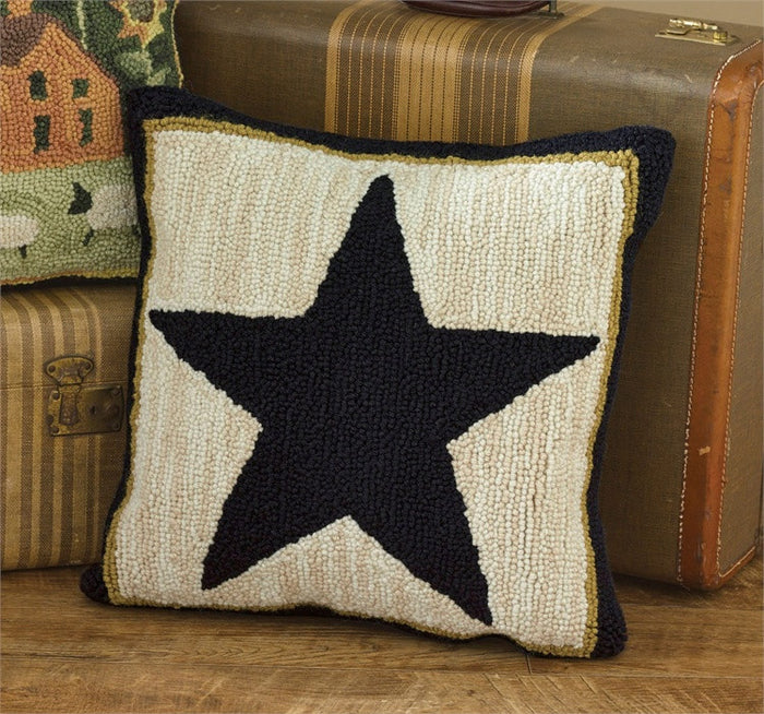Black Star Hooked Pillow