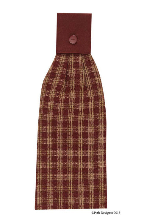 Sturbridge Hand Towel - Burgundy & Khaki