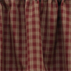 "Cambridge Burgundy & Tan Plaid Short Panel Curtain 63""L"