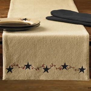 Burlap & Star Table Runner by Park Designs - DL Country Barn