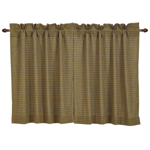Tea Cabin Green Plaid Tier Curtain 36x36 by VHC Brands