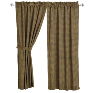 Tea Cabin Green Plaid Short Panel Curtains by VHC Brands