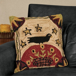 Folk Crow Hooked Pillow by Park Designs - DL Country Barn