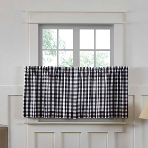 "Annie Buffalo Check Black Tier Curtains 24""L"