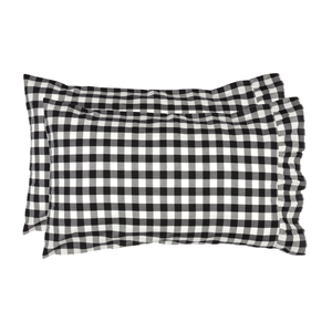Annie Buffalo Check Black Standard Pillowcase  - Set of 2