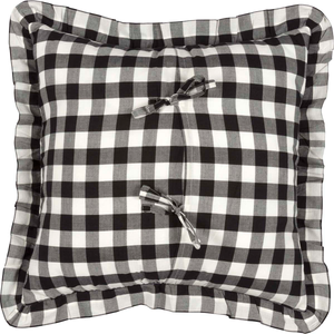 Annie Buffalo Check Black Ruffled Fabric Pillow 18 inch