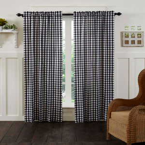 "Annie Buffalo Check Black Panel Curtains 84""L"