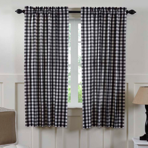 "Annie Buffalo Check Black Short Panel Curtains 63""L"
