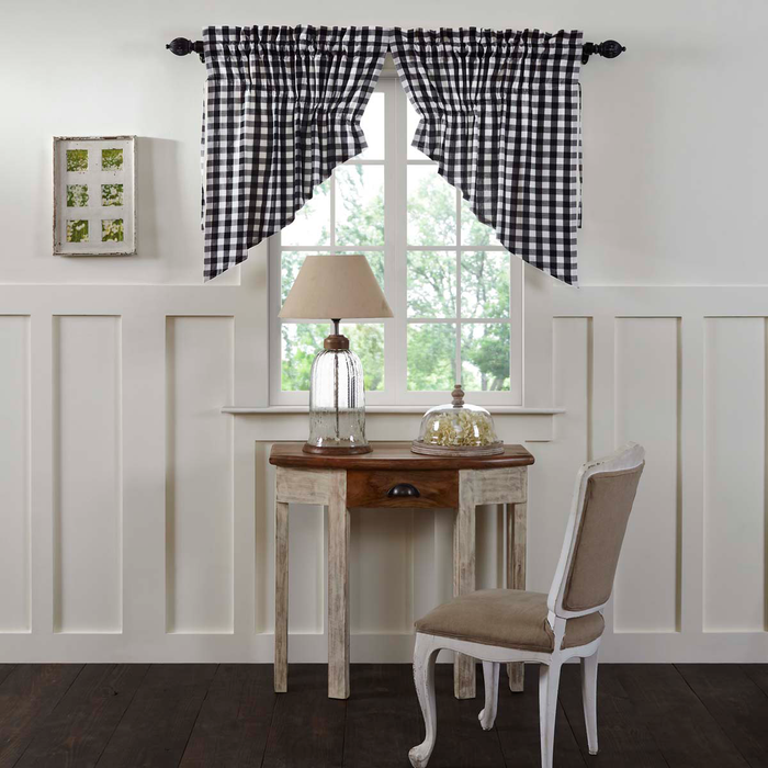 Annie Buffalo Check Black Prairie Swag Curtain