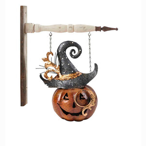 Metal Jack O Lantern With Hat Arrow Replacement Sign