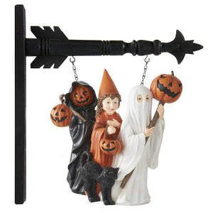 Trick or Treat Children w/ Black Cat Arrow Replacement Sign