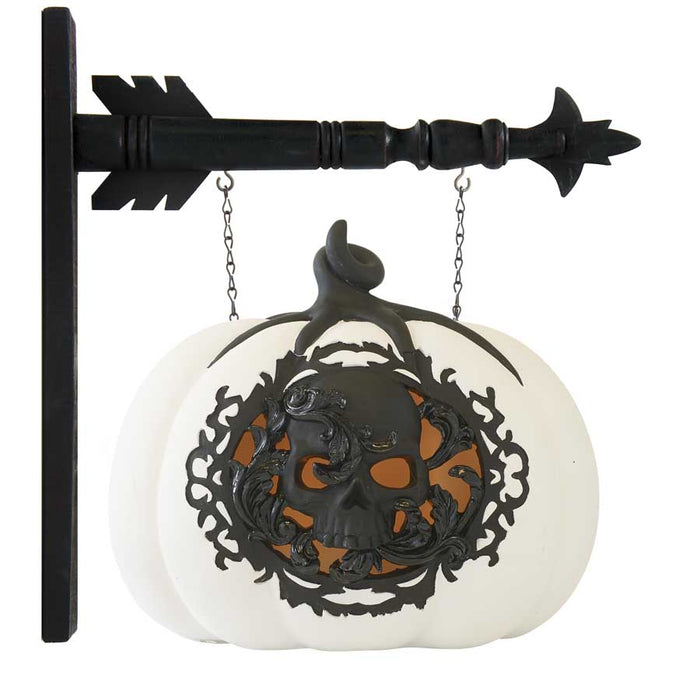 White & Black LED Pumpkin w/Filigree Skull Arrow Replacement Sign - SPECIAL ORDER