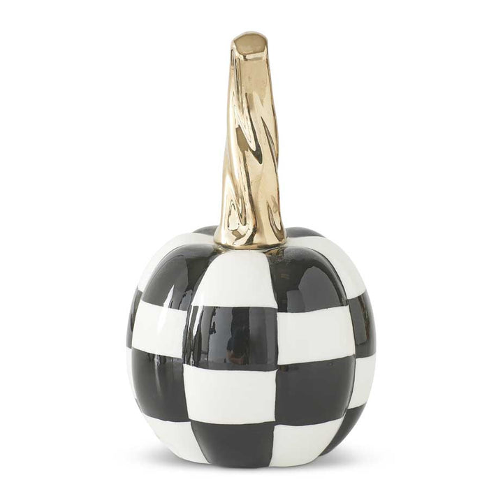 Black & White Checkered Ceramic Pumpkins w/Gold Stem