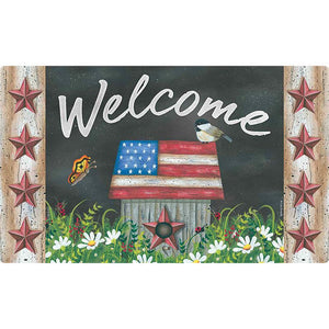 Patriotic Welcome Friends Floor Mat