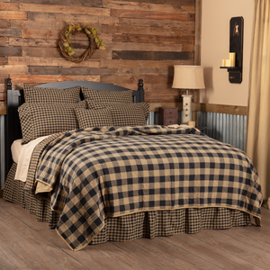 Black Check Quilt Coverlet (Choose Size)