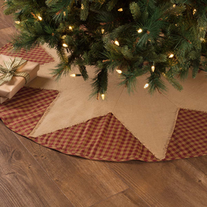 Burgundy Check Star Tree Skirt (Choose Size)