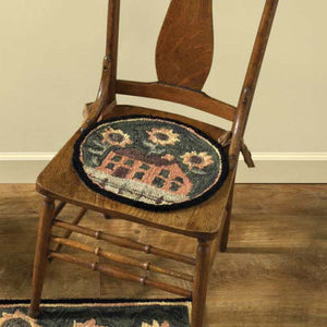 House & Sunflower Hooked Chair Pad