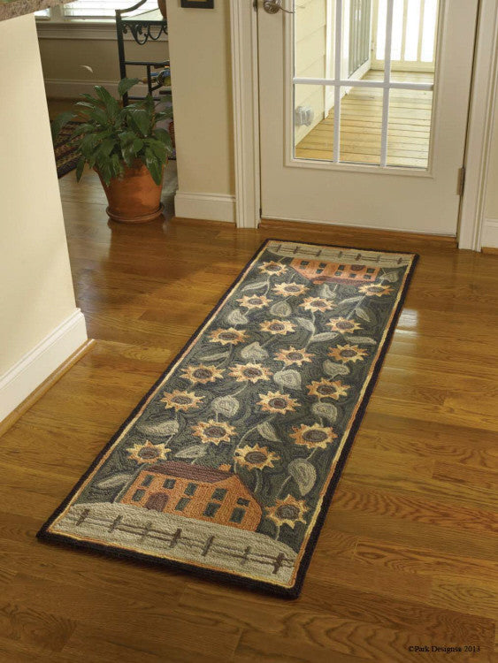 House & Sunflower Hooked Rug Runner
