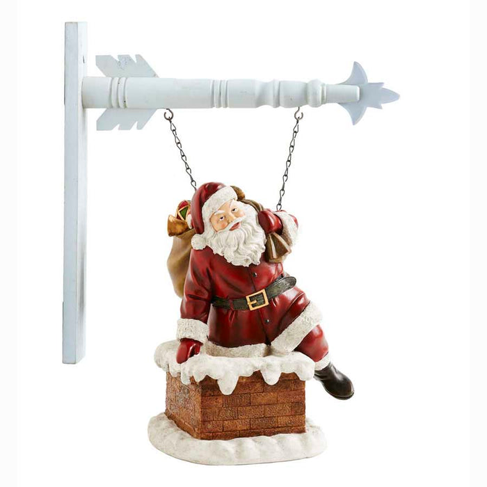 Resin Santa Climbing In Chimney Arrow Replacement Sign
