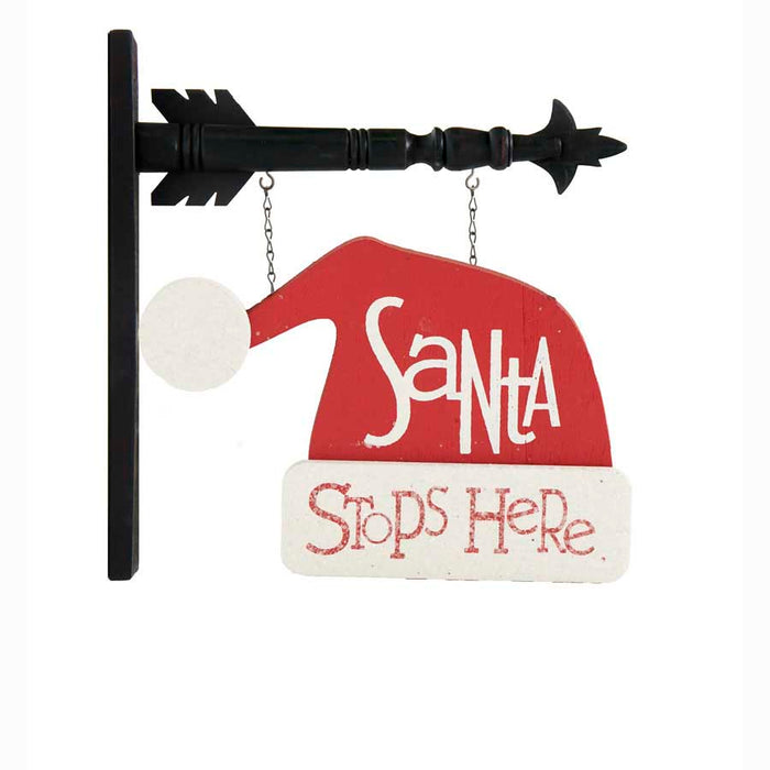 2 Sided Santa Stops Here Hat Arrow Replacement Sign - SPECIAL ORDER