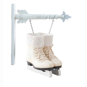 White Resin Pair of Ice Skates Arrow Replacement Sign