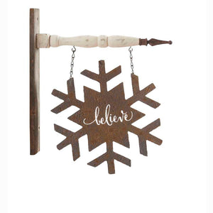 2 Sided Rusty Metal BELIEVE Snowflake Arrow Replacement Sign