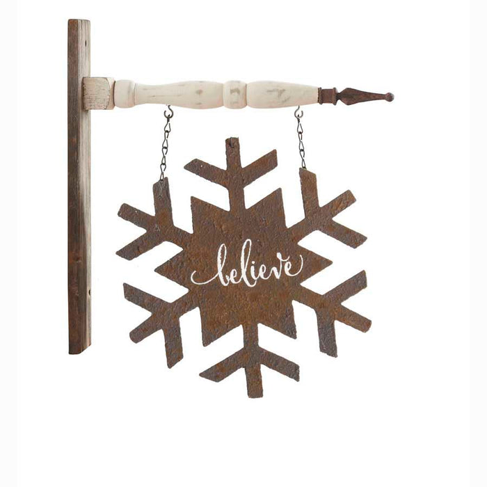 2 Sided Rusty Metal BELIEVE Snowflake Arrow Replacement Sign - Special Order