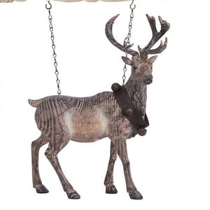 Resin Carved Standing Reindeer With Bell Collar Arrow Replacement Sign