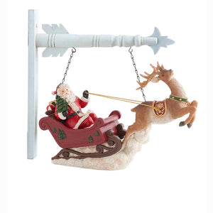 Santa Riding Sleigh with Reindeer Arrow Replacement Sign