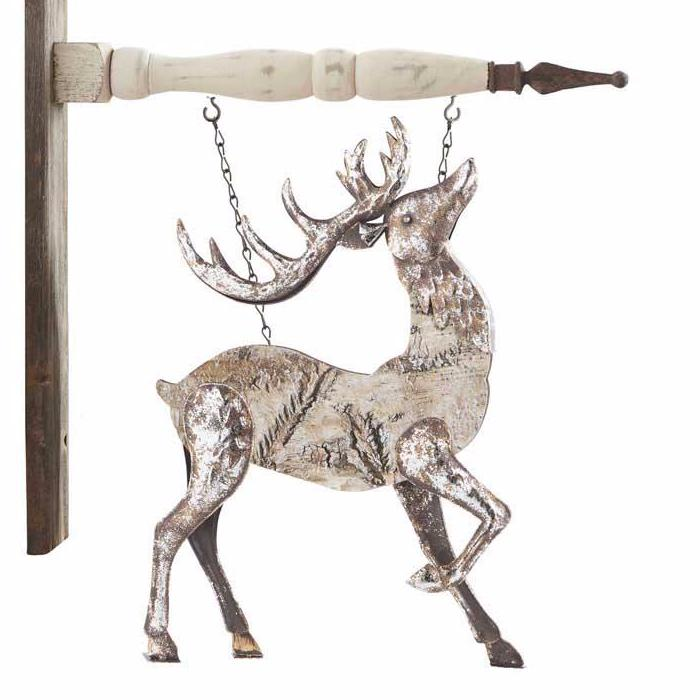 Antiqued Metal Deer With Head Up Arrow Replacement Sign - Special Order