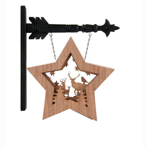 Wood LED Star With Deer Scene Arrow Replacement Sign