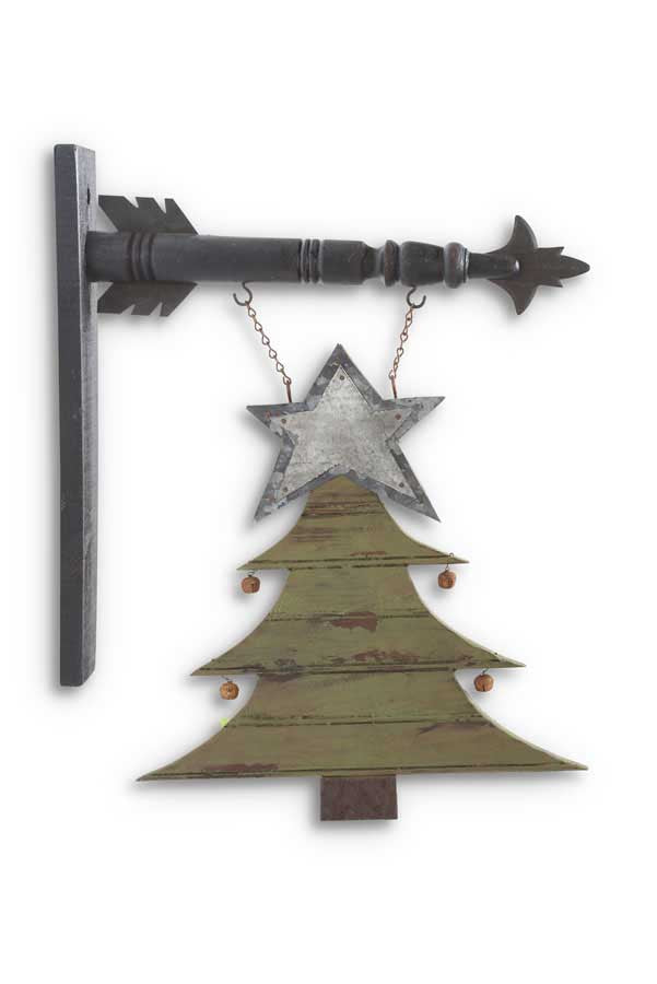Rustic Wood and Tin Christmas Tree Arrow Replacement Sign