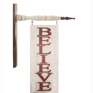 2 Sided Vertical Red and White BELIEVE Arrow Replacement Sign