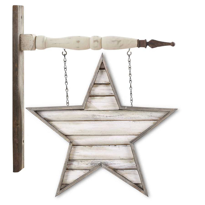 Wooden White Washed Slat Star Arrow Replacement Sign - SPECIAL ORDER