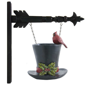 Black Resin Top Hat Vase w/ Cardinal Arrow Replacement Sign by K&K Interiors